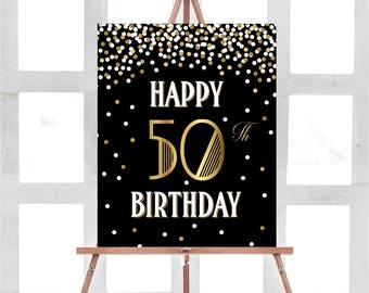 50th Birthday Sign Happy Decorations Party Gold Decor Black