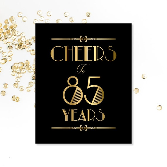 Cheers To 85 Years PRINTABLE Sign 85th Birthday