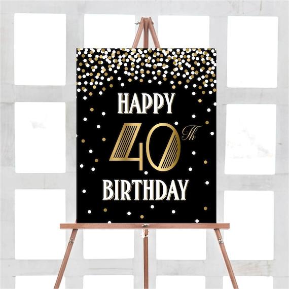 Glucklich 40 Geburtstag Zeichen 40 Geburtstag Zeichen 40 Etsy