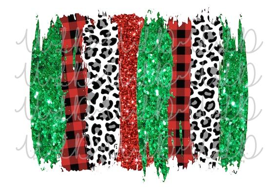 Paint Stroke GlitterRedBlackLeopard PNG Sublimation Water Slide  Design *Instant Download* Digital Transfer Christmas Background Cheetah