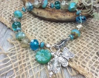 Beaded Bracelet - Knotted Bracelet - Boho Chic Bracelet - Boho Bracelet - Boho Style Bracelet - Crystal Bracelet - Rustic Bracelet