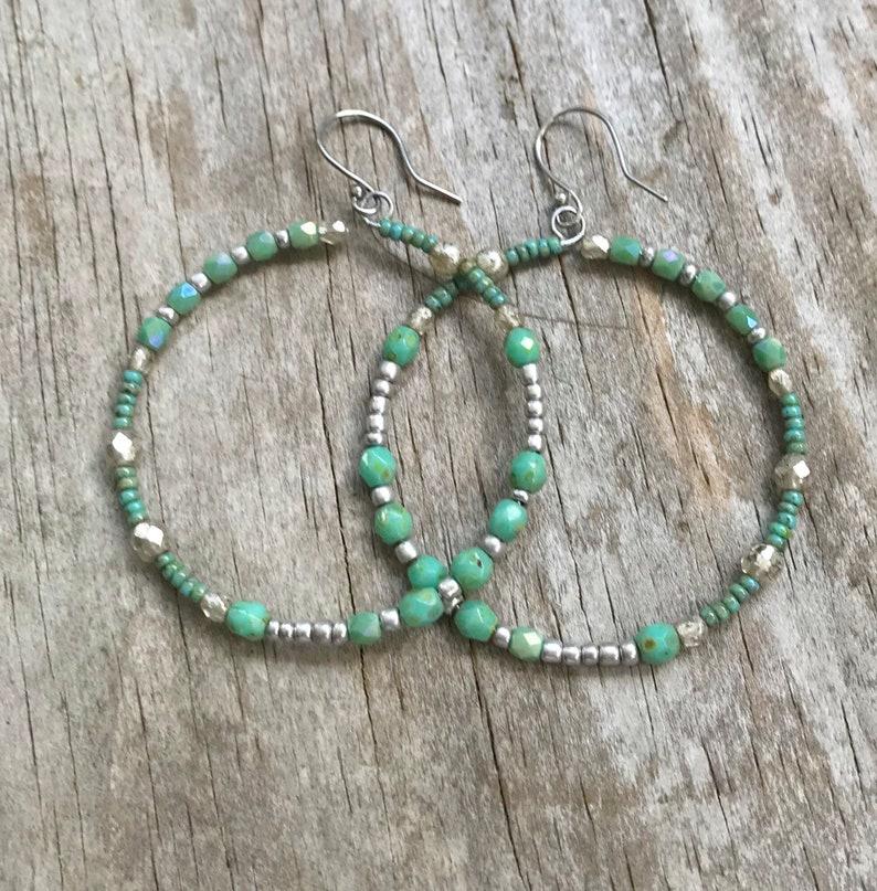 Boho Rustic Artisan Jewelry Boho Love from SimplyByMoonlight A Gift for Her Gulabahaar Large Hoop Crystal Beaded Earrings