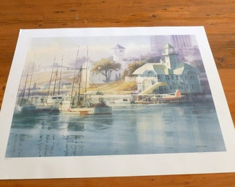 Vintage Harry Heine Limited Edition Lithograph Print, Marine Watercolour, Signed and Numbered, Nanaimo Harbour Canada, Home Decor, Wall Art