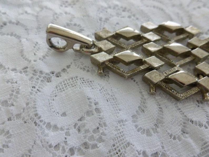 Retro Pendant Vintage Geometric Silver Tone Pendant with Chain Tassel