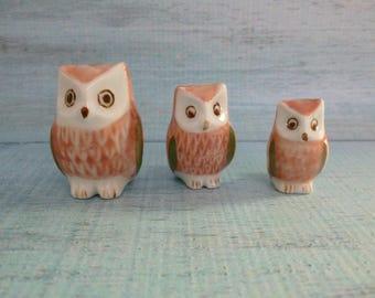 Vintage Ceramic Owl Set, Owl Family,  Vintage Owls, Ceramic Owls, Owl Figurine,  Home Decor, Collectible
