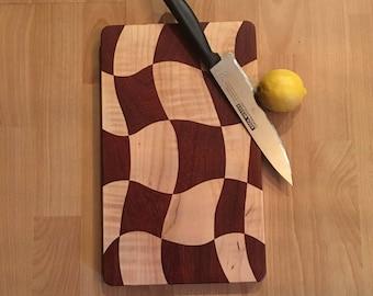 SALE - Exotic Hardwood Cutting Board - Drunken Board with Padauk and Maple