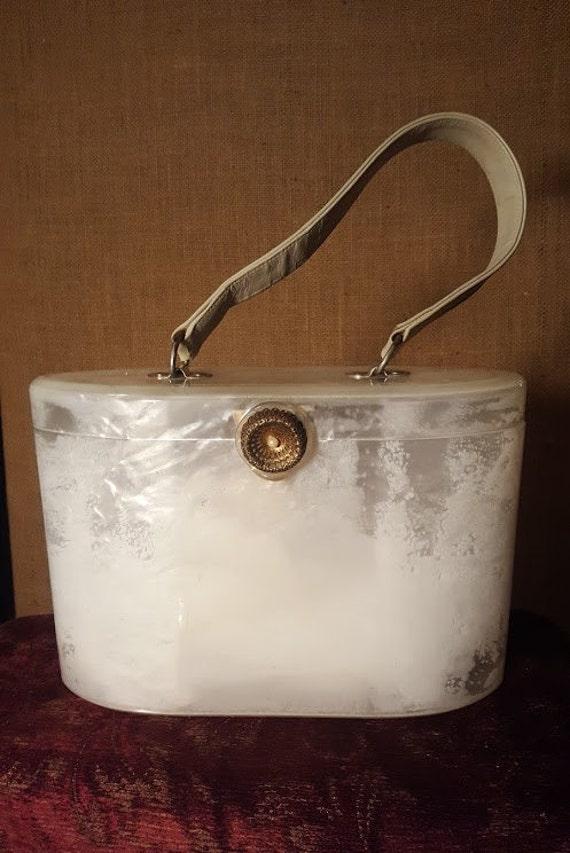 Vintage Lucite Wilardry Pearl white Lucite bag