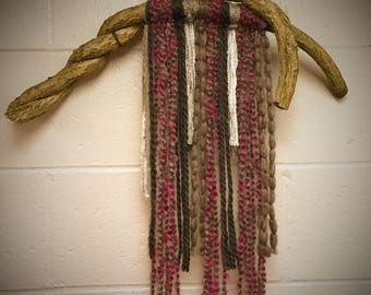 Natural and Rustic Yarn and Branch Wall Hanging - Purple