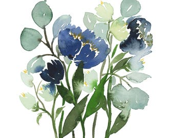 Blue Poppy Bouquet INSTANT DOWNLOAD