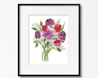 Red and Purple Bouquet 8x10 Original Watercolor