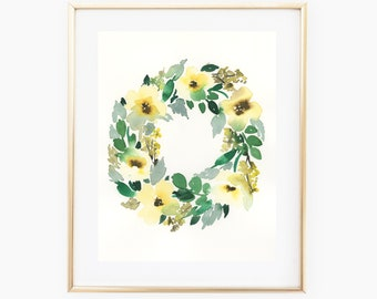 Yellow Wreath - 8x10 Original Watercolor