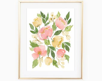 Delicate Vintage Flowers 9x12 Original Watercolor