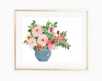 Loose Peony Arrangement 11x14 Original Watercolor
