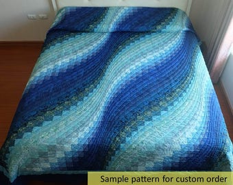 Subtle and sophisticated! Ocean Bargello Wave Quilt, Custom Made Art Quilt, Handmade King Queen Size, bed quilt, Modern & Contemporary Quilt