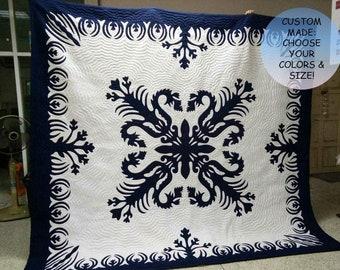 Hawaiian quilt wall hanging baby blanket handmade hand
