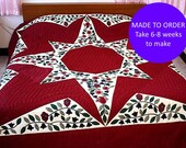Currant Quilt, Amish style Handmade Quilted Queen King, Burgundy homemade quilts, Hand made quilt, Appliqued flower bedspread