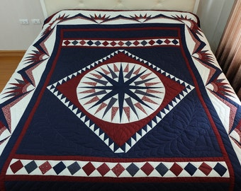 Amish made, Compass Star Quilt, King Size Quilt, Amish Quilt, Patchwork Quilt, Hand Made Quilts, Quilted Bedspread, Blue & red Quilt, cotton
