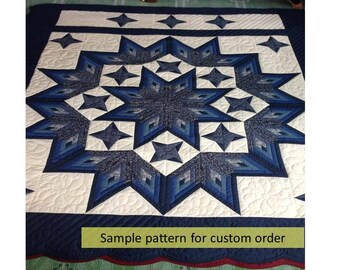 Log cabin Star quilts, Amish Made, Cotton Quilts, King size, Amish Pattern, Hand quilted, Radiant Star Amish Quilt King Size Hand Quilted