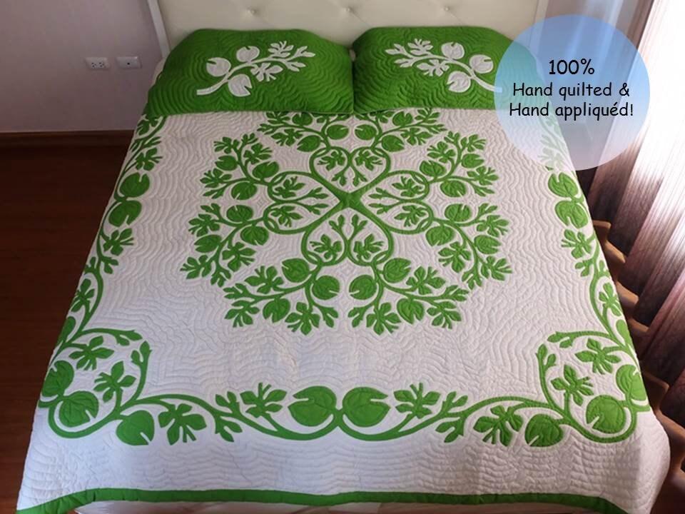 Fragrant gardenias appliqued hawaiian quilt king size hand etsy