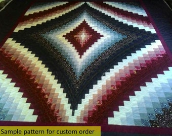 Bargello Diamond Quilts, Ombre, Queen/King Quilts, Trip around the world, Amish, Patchwork, maroons, burgundy, hand made quilt, traditional