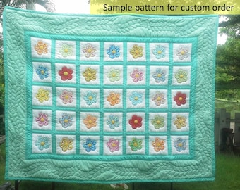 quilt, Custom Made-to-Order Bed Queen/King Quilt, Colors of Your Choosing, Pastel quilt, Modern holiday quilt, Appliqued, Hand stitched,mint
