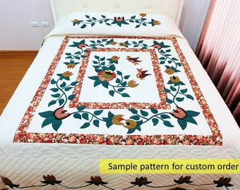 Made to order, quilts, Flower & Birds Quilt, King or Queen Size Quilt, Amish Quilt, Country Quilt, Quilted Bedspread, Amish Appliqued Quilt