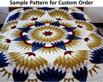 Broken Star Quilts, Queen / King size, Homemade quilts, Amish Pattern, Hand Stitched, Improved Star Quilts, Unique Gift, Traditional Amish