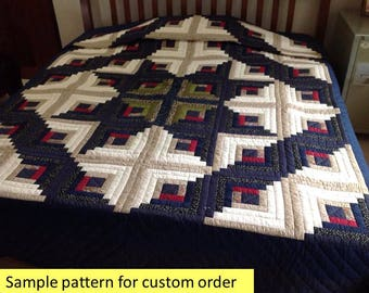 Very fine quilting, Blue & Beige log cabin quilts, Amish Quilt, Amish Patchwork Quilt, Quilted Bedspread, Hand Made coverlet king queen size