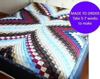 Diamond Quilt Made to Order- Bargello Quilt Blanket, Cotton Quilt Queen, Cotton Quilt King Size, Rustic Quilt King Size Handmade to Order