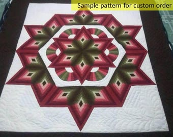 Log cabin Star quilts, Amish Made, Geometric Quilt, Cotton Quilts, King size, Amish Pattern, Hand quilted, Home made quilt, quilt by hand