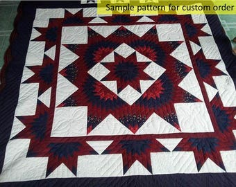 Patchwork quilt, Stars Quilt, Birthday Gift, Ombre quilts, Hand stitched, Amish Handmade Quilted, Quilted Bedspread, red,blue,white quilts