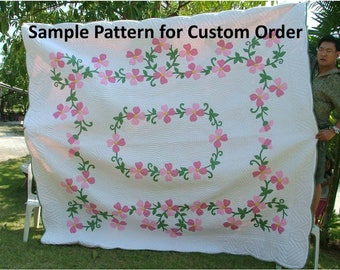 Homemade quilts, King size quilt, Appliqued quilts, Blankets & Throws, bedding, queen size, made to order quilts , Tropical flower quilts