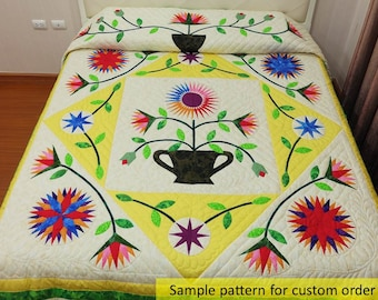 Quilted bedspread, Hand Sewn Quilt, Amish Quilt, Sunflower, Appliqued comforter, Quilted Bedspread, Hand Stitched, handmade, homemade quilts