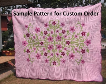 Hawaiian quilt handmade bedspread,  hand quilted/appliqued, king Size Hawaiian Quilted, Quilts, Bedding, Comforter, floral pink duvet, red
