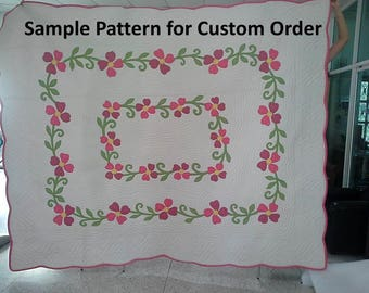 Blooming Dogwood quilts, Quilt, Homemade quilt, King size quilt, Hawaiian décor, appliqued quilt, Stunning medallion quilts, Rose embroidery