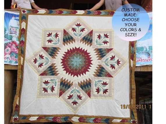 Quilts Rose Lone Star, colcha de patchwork Star, decoración de la granja, tamaño queen King, colchas caseras, cosido a mano, estilo tradicional
