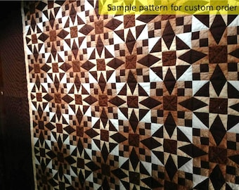 Beautiful Mexican Star, Very well pieced & hand quilted, Amish Patchwork quilt, Hand made quilts, King/Queen bedspread, Quilted Comforter