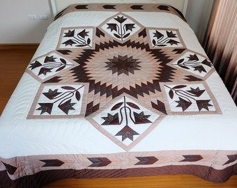 Lone Star Quilt, Amish Handmade Quilts, Patchwork King size quilts, bedspread, Star Quilt, Homemade quilts king size, Hand stitched quilts