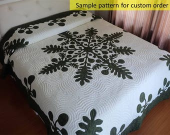 Ulu Bread fruit hawaiian quilt, Bedspread, Appliqued King size, hand stitched gorgeous quilt, Breadfruit, NO long arm machine, NO Hand Dyed