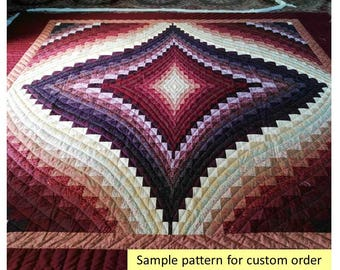 Outstanding workmanship! Bargello Diamond Quilts, Ombre, Queen/King Quilts, Trip around the world quilt, Amish, Patchwork, maroons, burgundy