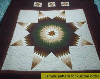 Amish Handmade Quilted Improved Lone Star Quilt, Queen quilts, King size quilts, Star quilts, Amish quilts, Hand Stitched, alone star quilts