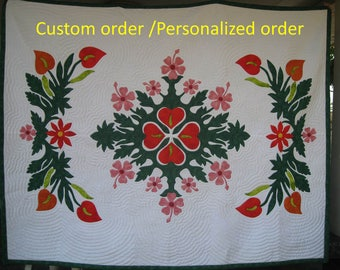 Anthurium, Hawaiian Appliqued, Flamingo Plant, Tropical Quilt, Hawai Decor, Quilted Bedspread, Personalized order, hand quilted quilts, King