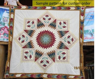 Rose Lone Star Quilts, Broken Star Quilts, Queen/ King size, Homemade quilts, Amish Pattern, Hand Stitched, Traditional Amish quilt, beige