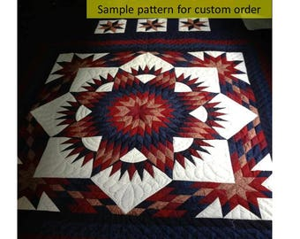 Free shipping, Amish Quilts, Amish blanket, Hand Made Quilt, On Sale, Quilted Bedspread, Star Quilt, Patchwork, King Size, Broken Star Quilt