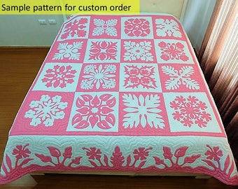 Hawaiian square quilts, Hawaiian appliqué, hand stitched, décor, Art, Quilted bedcover, Quilt by hand only, NO longarm machine, NO Hand Dyed