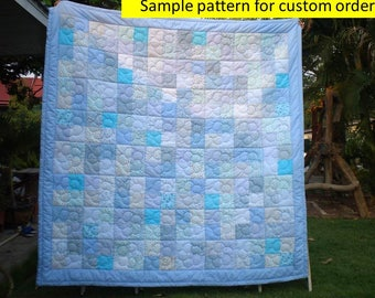 Scrappy Patchwork Quilts, Ombre quilt, Modern quilt, Contemporary Bed Quilts, Hand stitched, Pastel quilts, Quilted Bedspread, Birthday Gift