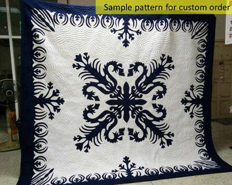 Hawaii quilt, Hawaiian décor, Aloha Hawaiian Quilt, Appliqued handmade quilt, Beach Quilts, Hawaiian gifts, hand stitched, Shabby chic decor