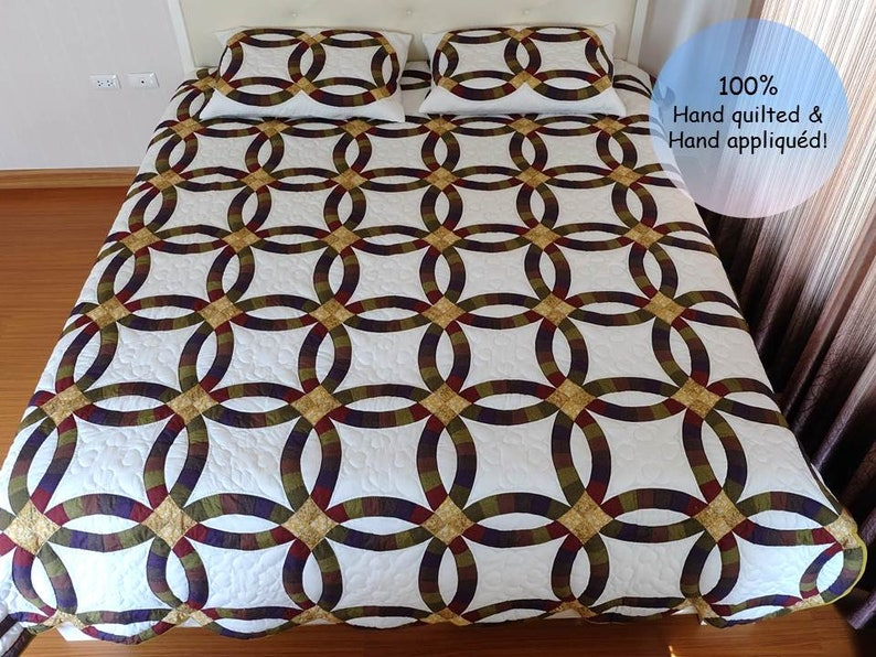 Double Wedding Ring Quilt.Wedding Ring Quilt King Double Wedding Ring Quilt Queen Modern Quilt Queen Custom Quilt Wedding Ring Handmade Wedding Ring Quilt