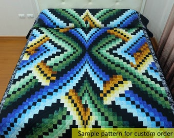 The Illusion Bargello queen size quilt, Amish Quilt, Hand made quilts, bedding, blue, green, yellow, custom quilts, Amish quilts, any size