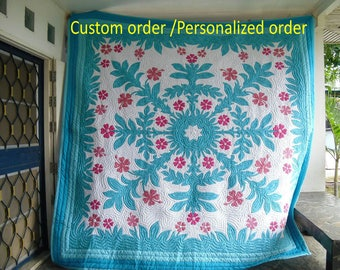 Bedsheet, On sale, Hawaiian Quilts, Hawaiian bedding, Home made, Reverse Applique quilt, bedspread, Sapphire Leaves, Turquoise Duvet cover